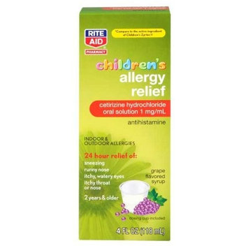 Rite Aid Children's Cetirizine HCl Oral Solution 1 mg/mL Antihistamine, Grape Flavored 4 oz.