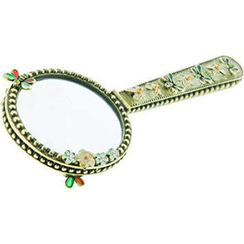 Alexander Kalifano Jeweled Mirror with Butterfly, Made with Swarovski Elements Crystals, Earth Tone [SVA-006]