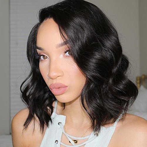 """Life Diaries Short Bob Natural Wavy 130% Density Glueless 4 Inch Part Silk Top Lace Front Wigs 8A Unprocessed Brazilian Virgin Human Hair Natural Hairline Bleached Knot Free Part(12"""", nature color)"""