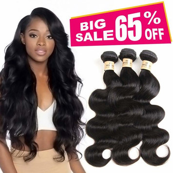 3 Bundles Deal Brazilian Human Hair Body Wave Hair Bundles Cheap Brazilian Wavy Hair Weave 100 Human Hair Extensions 8A Grade Natural Black Color (10 12 14) inch