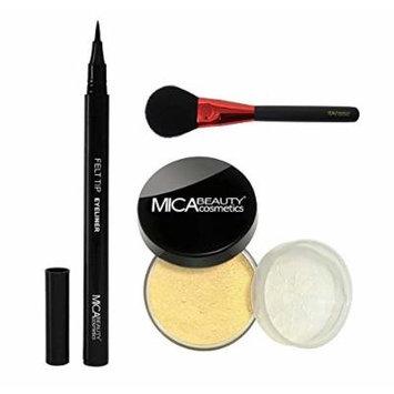 MicaBeauty Mineral Foundation Powder 9 Grams+Felt Tip Eyeliner+Blush Brush (Bundle of 3 Items) (MF1 Porcelain)