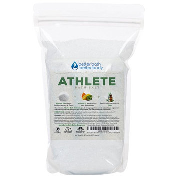 Athlete Bath Salt 32oz (2-Lbs) - Epsom Salt Bath Soak With Pine & Eucalyptus Essential Oil Plus Vitamin C - All Natural No Perfumes No Dyes -...