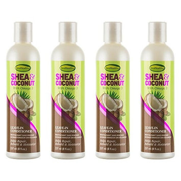 GroHealthy Shea & Coconut Leave In Conditioner (8 oz) pack of 4
