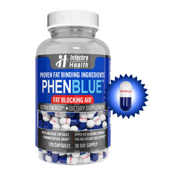 PHENBLUE - Ultra Fat Blocking Aid with Energy Boost 120 White Blue Capsules - Weight loss Diet Pills - GMP Certified in the USA - Intechra Health