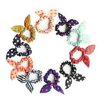 10PCS Rabbit Ear Hair Bands Bow Ties Ponytail Holder Elastic Cotton stretch Hair Ties Hair Styling Tools Headband Scrunchie Hair Acdessories (Color Random)