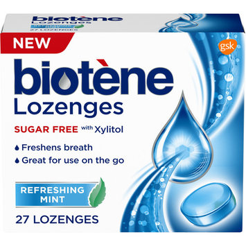 Biotene Dry Mouth Lozenges for Fresh Breath, Refreshing Mint, 27 count
