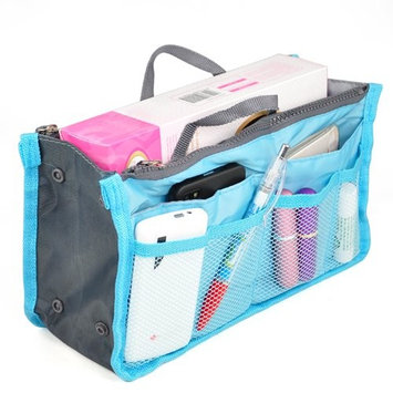 BeautyLife Handbag Organiser ,Organizer Large, Insert, Travel Bag, 12 Pockets (Blue)