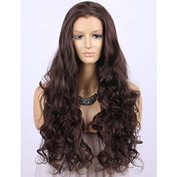 Dark Brown Lace Front Wigs for Women Long Wavy Synthetic Wig Scheherezade Glueless Lace Wigs with Widow's Peak 24 Inches