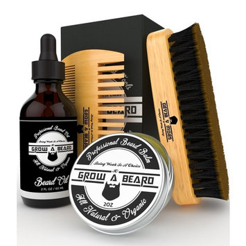 Beard Brush, Comb, Balm, Oil Grooming And Conditioner Beard Care For Men - Best Facial Hair Combo For Home And Travel - Ideal For Dry Or Wet And All Sizes & Beards Style (Black Mate)