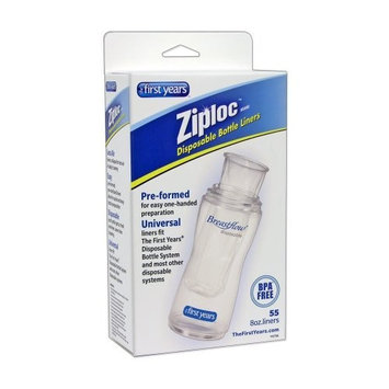 The First Years 55 Pack Ziploc Brand Disposable Bottle Liners, 4 Ounce (Discontinued by Manufacturer)