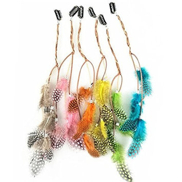 6PCS Girls Lady Women Handmade Colourful Boho Hippie Hair Extensions with Feather Clip Comb Hairpin Headdress Headband DIY Accessories