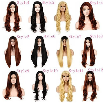 WigTech2017 250%Density Synthetic Lace Front Light Yaki Straight 20 Inch Dark Brown Color Heat Resistant Fiber Wigs With Baby Hairs For All Skin Tones Women