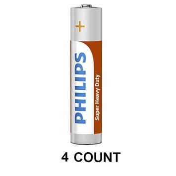 4 Philips AA Zinc Chloride Double A Batteries R6 1.5V Super Heavy Duty Battery