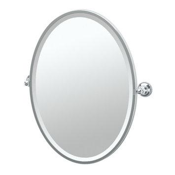 Gatco Tiara 24 in. x 28 in. Framed Single Oval Mirror in Chrome