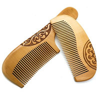 Buorsa 2Pcs Handmade Peach Wood Comb Anti-Static Hair Care Comb Set, For Women's All Types of Hair