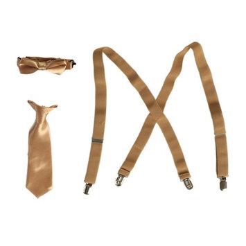 Little Boys Khaki Suspender Bow-tie Tie Combo Special Occasion Set