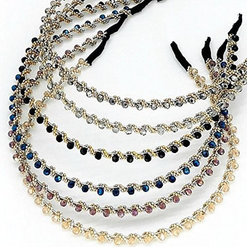 6PCS Assorted Color Beaded Bejeweled Headbands for Women Girls Thin Hair Hoop Fashion