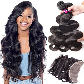RECOOL Brazilian Hair Body Wave Bundles with Frontal Closure Ear to Ear Lace Frontal with Bundles Wavy Human Hair Extensions Natural Color(16 18 20 With 14)