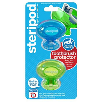 Steripod Clip On Toothbrush Sanitizer 2 Count Each (Colors Vary)
