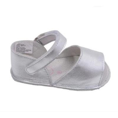Angels Toddler Girls Silver Open Toe Velcro Strap Crib Sandals 4-5 Toddler