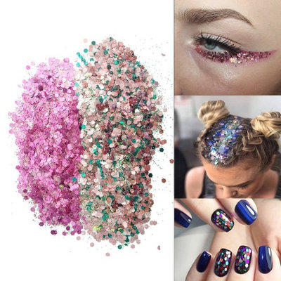 JOLIFILE Ultra-thin Chunky Glitter Makeup for Festival Face Body Hair Nails (Purple + Holographic)
