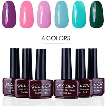 Gellen New Soak Off Gel UV Nail Polish Set 6 Colors Nail Art Home Gel Manicure Kit #KM 0756