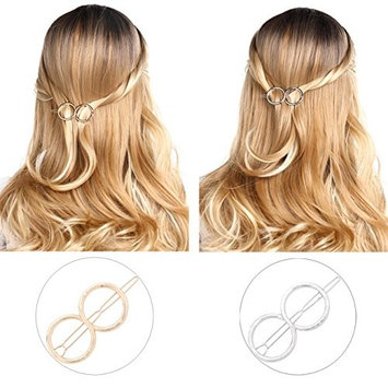 Unicra Hair Barrettes Hair Bows for Women - 8 Pcs Hairpins for Girls Valentine's Day Present (Gold and Silver)