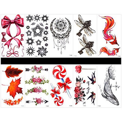 SPESTYLE 10pcs tattoo fox tattoos waterproof and non toxic real fake tattoos in 1 packages,including fox,leaves,rose,Lollipop,swallow,whale,butterfly bow,sun,jewelry,dragonfly,etc.
