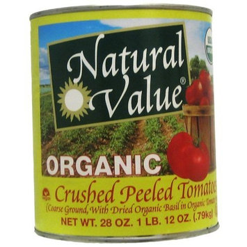 Natural Value Organic Crushed Peeled Tomatoes with Basil in Tomato Puree, 28 Ounce Cans (Pack of 6)