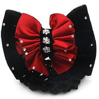 Lady Satin Bow Rhinestone Barrette Hair Clip Cover Net Bun Snood Bowknot lovely