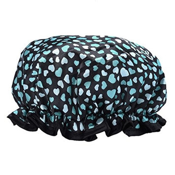 Starlit Women Bath Elastic Heart-shaped Shower Cap Printed (Green)