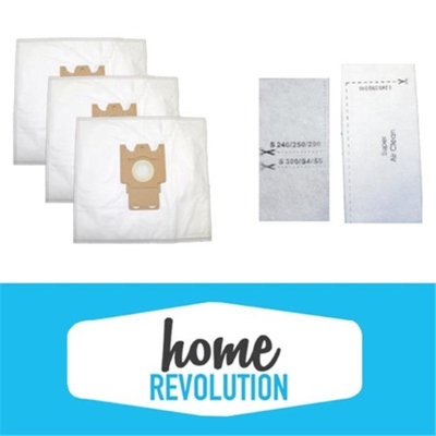 Home Revolution 101001-Deluxe 5-Pack Micro Filtration Cloth Bags, 2-Filters for Miele FJM Vacuums- 101001