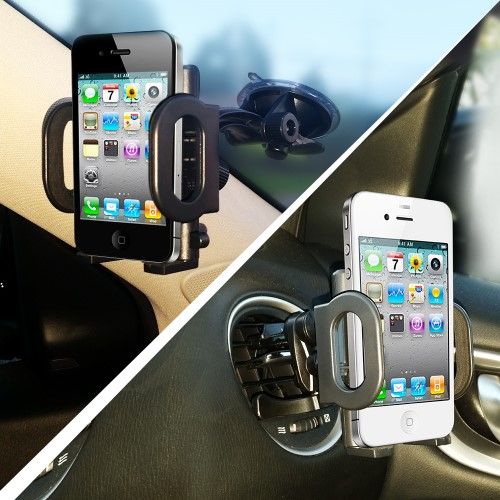 Easy Tech 2-in-1 Mobile Phone Car Mount, Holder, Cradle - Universal Fit - Secure Cell Phone/GPS to Windshield