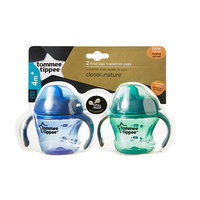 Tommee Tippee BPA Free Closer to Nature 2 Pack 5 Ounce First Sips Transition Cup - Blue and Green