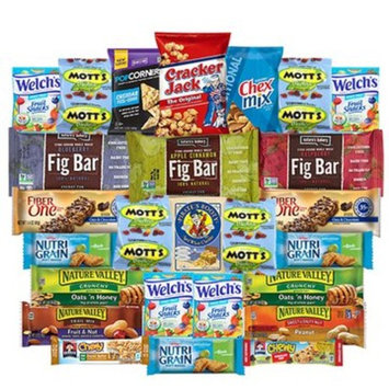 Healthy Bars & Snack Care Package Variety Pack Bulk Sampler Includes Popcorners, Cracker Jack, Pirates Booty, Chex Mix, Mott's, Welch's, Fig Bar, Fiber One, Nature Valley, Nutrigain, Quaker Chew