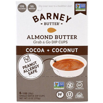 Barney Butter Almond Butter, Grab & Go Dip Cups, Cocoa + Coconut, 6 Single-Serve Dip Cups, 1 oz (28 g) Each