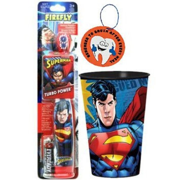 Super Hero Inspired 2pc Bright Smile Oral Hygiene Set! (1) Superman Turbo Power Toothbrush With Mouthwash Rinse Cup! Plus Bonus