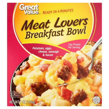 Great Value Meat Lovers Potatoes, Eggs, Cheese, Sausage & Bacon Breakfast Bowl, 7 oz