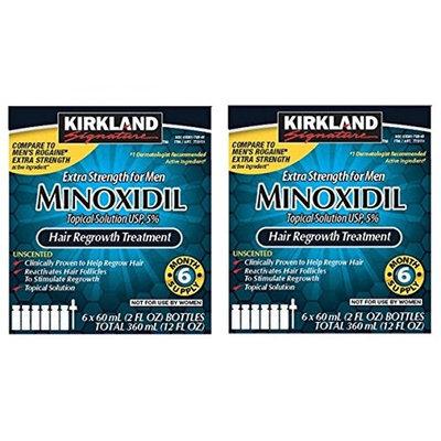 6 Months Kirkland Minoxidil 5 percentage Extra Strength Hair Loss Regrowth Treatment Men, 2 oz (Set of 12)