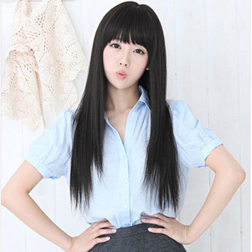 Image Long Straight Wigs Full Hair Wig Halloween Cosplay Party Black