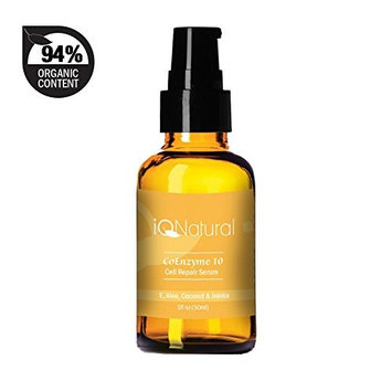 IQ Natural's Coenzyme Q10 Facial Serum - Matrixyl 3000 Peptide Anti Aging Collagen Serum - All Natural Antioxidant Skin Support & Hydrating Skincare - 1oz