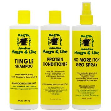 Jamaican Mango & Lime Tingle Shampoo + Conditioner + No More Itch Regular 16oz 'Set' (Pack of 3)