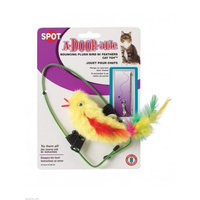 A-DOOR-able Bouncing Plush Bird W/Feather Mouse Catnip Toy - Colors Assorted