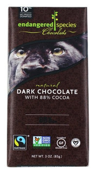 Endangered Species - Extreme Dark Chocolate 88% Cocoa - 3 oz(pack of 12)