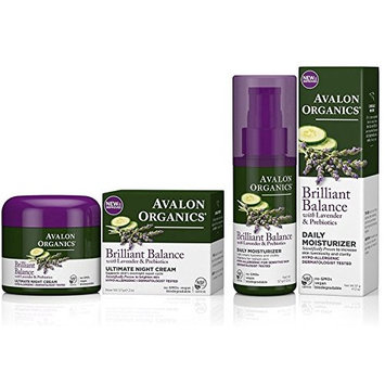 Avalon Organics Brilliant Balance Daily Moisturizer Bundled with Ultimate Night Cream, 2 Ounce Each