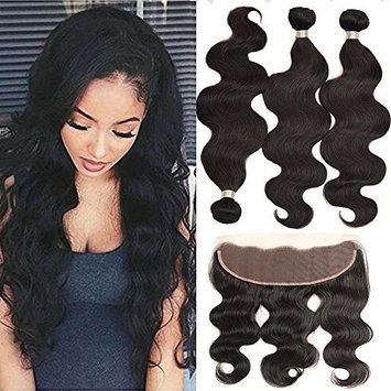 Verna Hair Brazilian Body Wave Hair 3 Bundles with 1 Piece Lace Frontal Closure Unprocessed 8A Virgin Human Hair Weave with Frontal Closure