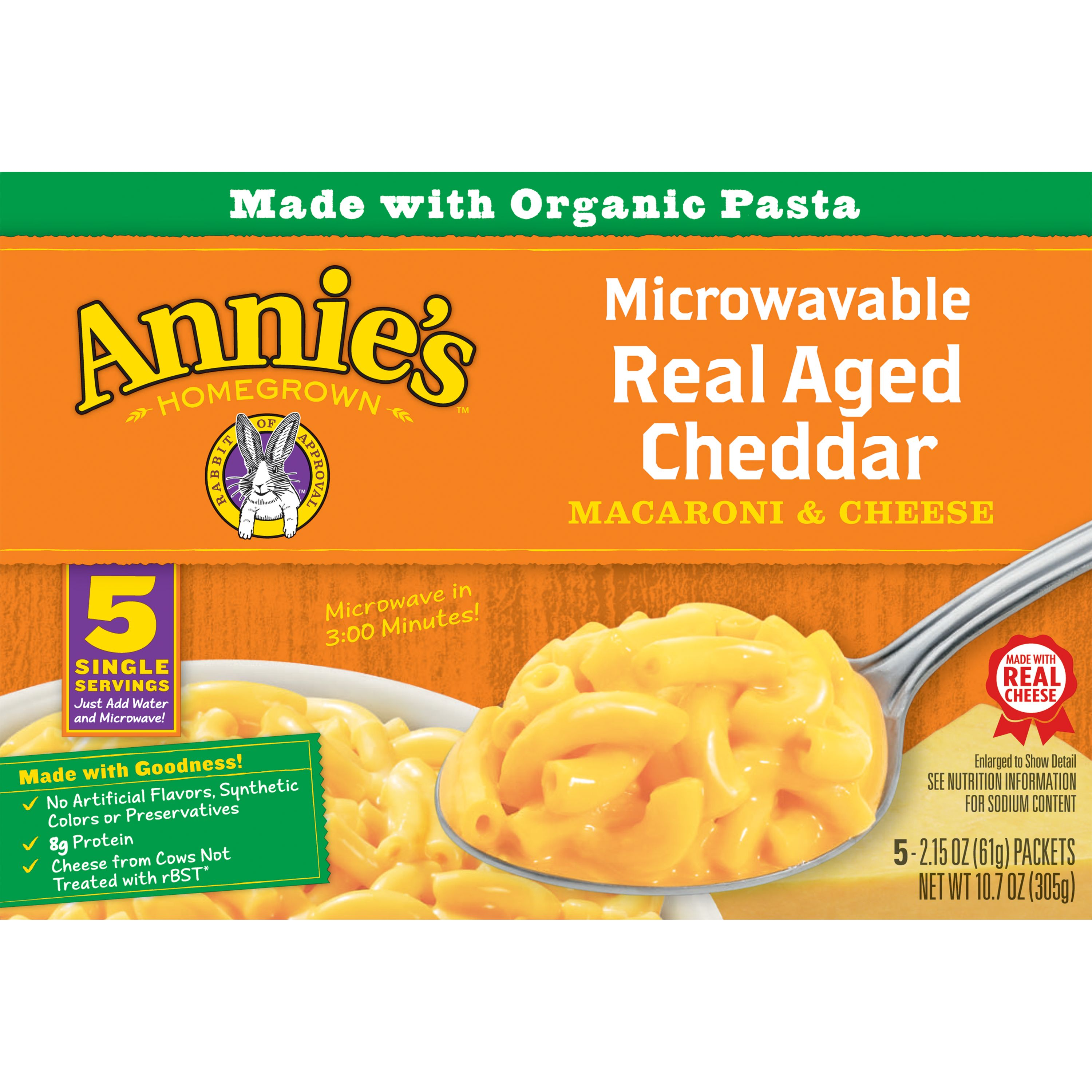 Annie's Real Aged Cheddar Mac and Cheese Microwaveable Cup, 5 Ct, 10.7 oz