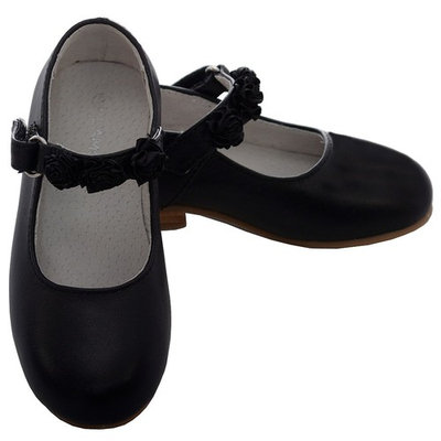 L'Amour Black Leather Flower Mary Jane Velcro Shoe Toddler Girl 7-10