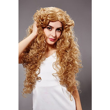 Fashion U.S.A. Style Ladies Blonde Curly Long Hair Wig 60cm EU Style Girl Blonde Corn Wave Long Hair Wig