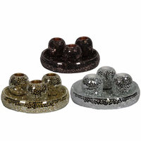 Benzara Assortment Of 3 T-Light Wooden Candle Holder With Mosaic Motif, Multicolor